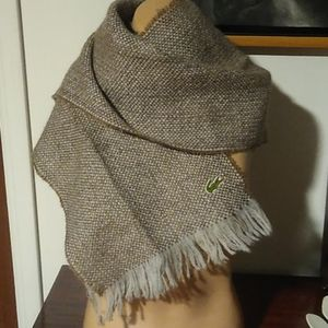 Lacoste/Izod vintage woven wool scarf with fringe